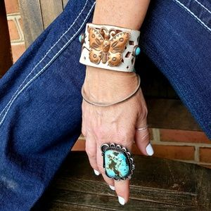 Jewelry - Navajo stamped copper butterfly leather bracelet